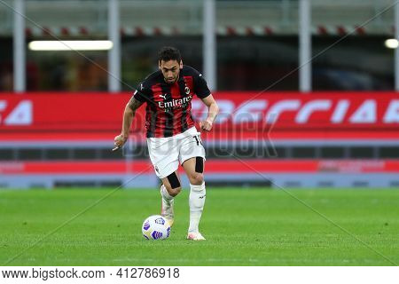 Milano, Italy. 14th March 2021 . Hakan Calhanoglu Of Ac Milan  During The Serie A Match Between Ac M