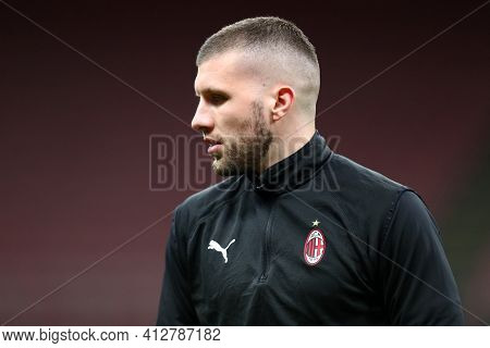 Milano, Italy. 14th March 2021 . Ante Rebic Of Ac Milan  During The Serie A Match Between Ac Milan A