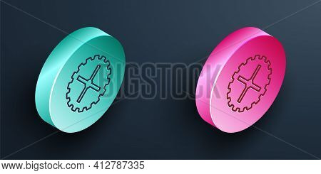 Isometric Line Bicycle Sprocket Crank Icon Isolated On Black Background. Turquoise And Pink Circle B
