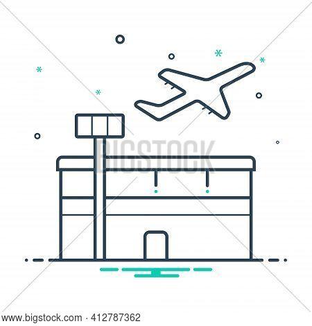 Mix Icon For Airport Aerodrome Terminal Plane Take-off