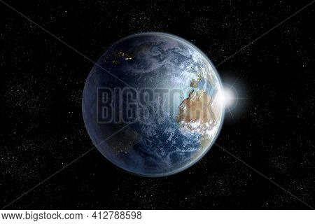 Daybreak On Planet Earth From Space With The Atlantic Ocean Surrounded By Continents, 3d Rendering W