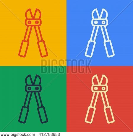 Pop Art Line Bolt Cutter Icon Isolated On Color Background. Scissors For Reinforcement Bars Tool. Ve