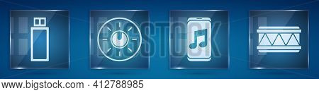 Set Usb Flash Drive, Dial Knob Level Technology Settings, Music Player And Drum. Square Glass Panels