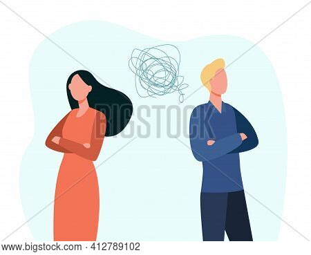 Man And Woman Family Couple Quarrel. Unhappy Wife And Husband Standing Back To Back After Argument F