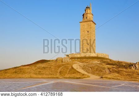 Hercules Tower Lighthouse And Compass In A Coruna, Galicia. Spain