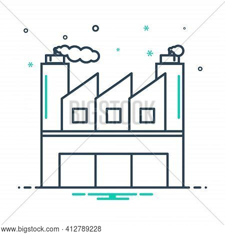 Mix Icon For Industrial  Manufacturing  Manufacture Architecture