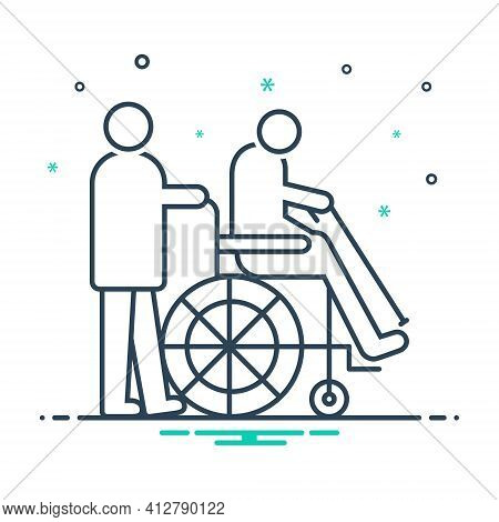Mix Icon For Geriatrics Therapy Wheelchair Handicapped Physiotherapist Medical