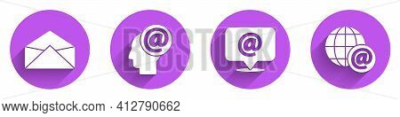 Set Envelope, Mail And E-mail, Mail And E-mail And Earth Globe With Mail Icon With Long Shadow. Vect