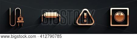Set Electric Plug, Resistor Electricity, Exclamation Mark In Triangle And Electric Light Switch Icon