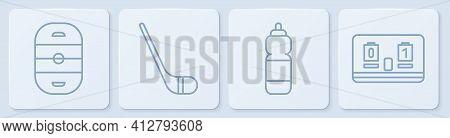 Set Line Ice Hockey Rink, Fitness Shaker, Ice Hockey Stick And Hockey Mechanical Scoreboard. White S