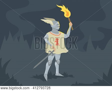 Knight Standing With Sword And Burning Torch. Brave Medieval Solder Man Person In Heavy Steel Armor.