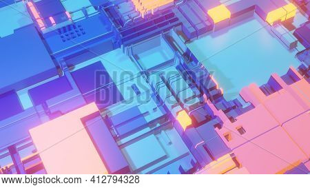 Scifi Background Made Of Isometric Cube Shapes. 3d Rendering