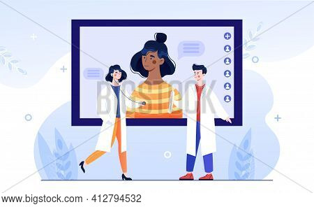 Female Character Is Having Medical Consultation Online. Medical Staff Is Standing In Front Of Comput