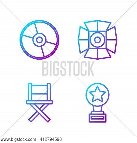 Set Line Movie Trophy, Director Movie Chair, Cd Or Dvd Disk And Movie Spotlight. Gradient Color Icon