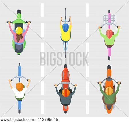 Top View Of People On Bicycles Or Bikes Flat Pictures Set For Web Design. Above View Of Cartoon Char
