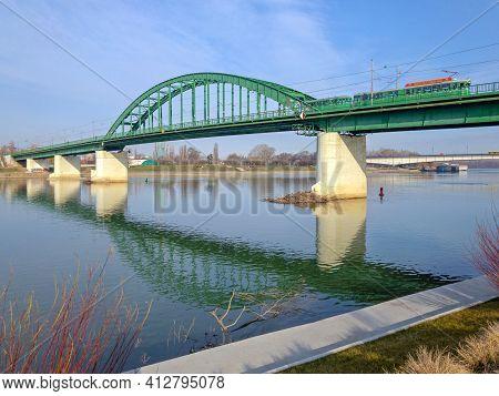 Belgrade, Serbia - March 06, 2019: Old Green Arch Bridge Over Sava River.