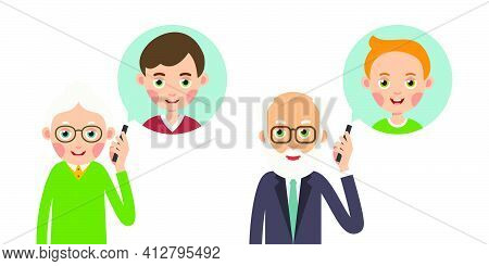 Grandmother And Grandfather With Phone. Elderly Woman And Man Holds Smartphone In Her Hand And Repre