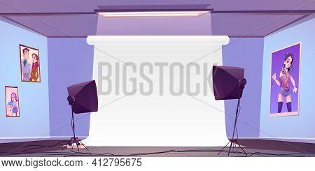Empty Photo Studio Interior With White Backstage