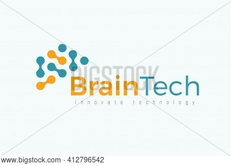 Brain Tech Logo Concept For Futuristic Science And Medical Innovate Technology. Computer Chip Icon F