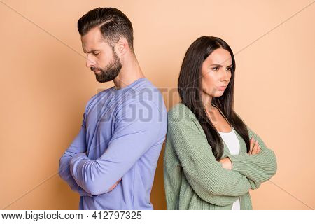 Back-to-back Photo Of Young Unhappy Upset Sad Couple Wife And Husband In Argument Quarrel Isolated O