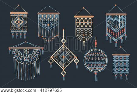 Stylish Bundle Of Macrame Wall Hangings Flat Pictures For Web Design. Cartoon Bohemian Decor Made Of