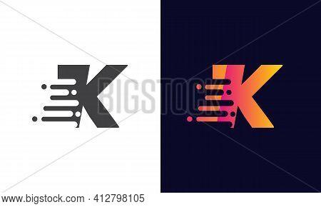 Modern K Letter Speed Logo Design. Creative Unique Elegant Geometric, Minimal Fashion Brand K Letter