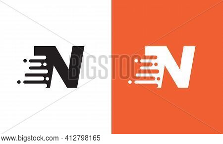 Letter N Speed Logo Design Element. Abstract Letter N Logo Design Template. Universal Fast Speed, Qu