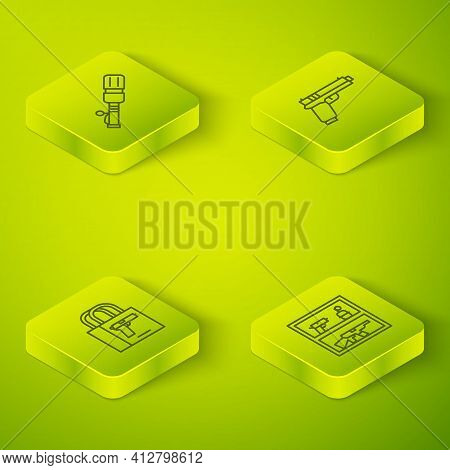 Set Isometric Line Pistol Or Gun, Buying Pistol, Hunting Shop Weapon And Anti-tank Hand Grenade Icon
