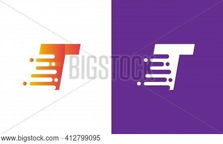 Letter T Speed Logo Design Element. Abstract Letter T Logo Design Template.