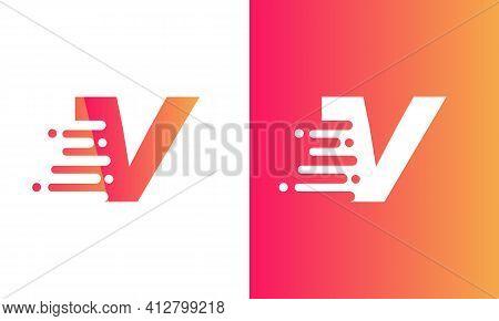 Letter V Speed Logo Design Element. Abstract Letter V Logo Design. Universal Fast Speed, Quick Energ