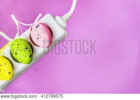 Happy Easter Greeting Card With Electrical Switch On Pink Background