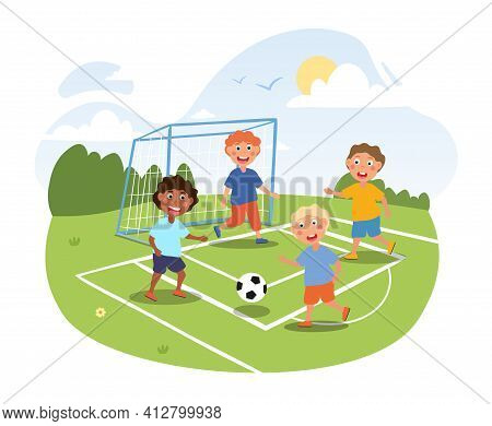 Little Children Are Playing Football Outside. Happy Smiling Kids Are Playing Soccer On A Hot Summer