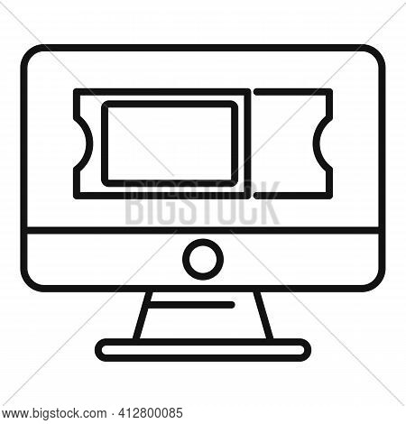 Online Trip Ticket Icon. Outline Online Trip Ticket Vector Icon For Web Design Isolated On White Bac