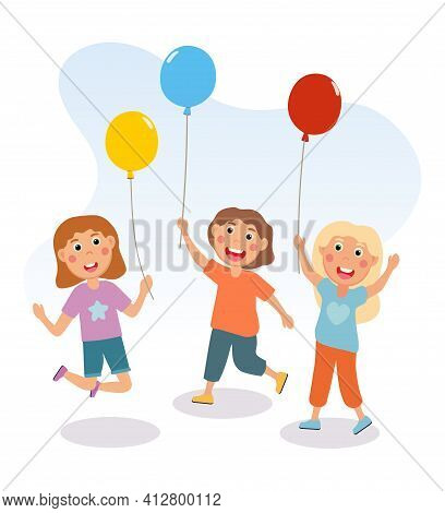 Little Children Are Having Fun With Colorful Balloons Together. Happy Smiling Kids Are Jumping With