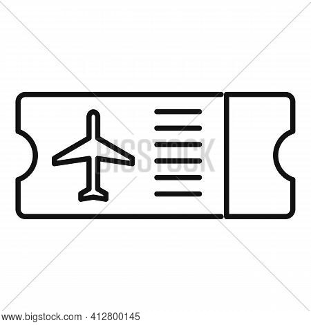 Plane Board Ticket Icon. Outline Plane Board Ticket Vector Icon For Web Design Isolated On White Bac