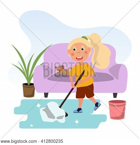 Cute Little Girl Mopping The Floor In A Room. Concept Of Kids Doing Housework Chores At Home. Happy