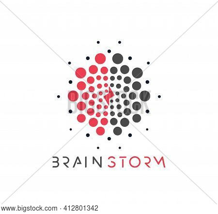 Brain Vector Logo Concept. Brainstorm, Creative Thinking Or Learning Dotted Vector Icon On White Bac
