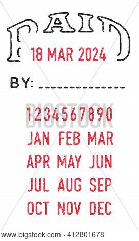 Vector Illustration Of The Paid Stamp And Editable Dates (day, Month And Year) In Ink Stamps