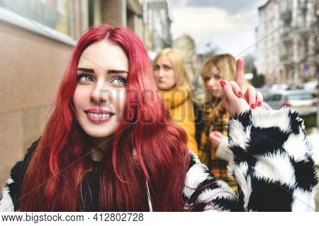 Self-confident Teenage Girl Ignores Jealous People Who Spread Gossip Behind Her Back. Stop Bullying.