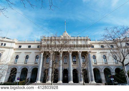 Madrid, Spain - January 31, 2021: Madrid Stock Exchange Headquarters.