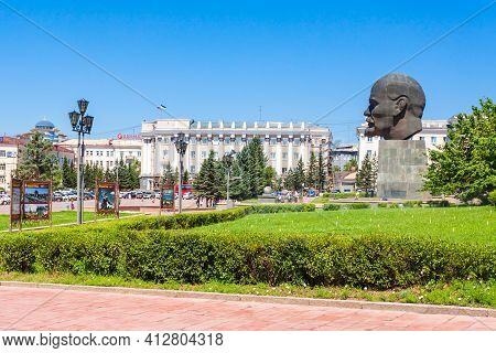 Ulan-ude, Russia - July 15, 2016: The Largest Head Monument Of Soviet Leader Vladimir Lenin Ever Bui