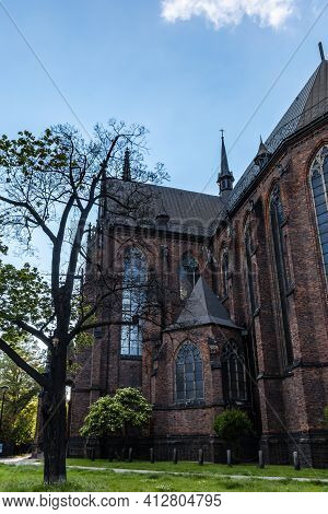 Wroclaw, Poland - May 26 2020: Facade Of Church Of St. Archangel Michael