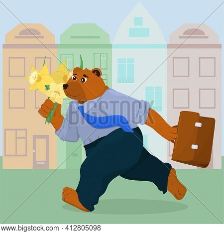 A Bear In Office Clothes With A Bouquet Of Daffodils And A Briefcase In His Hands Runs Along The Str