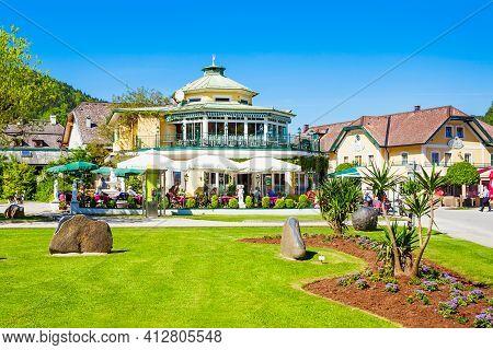 St. Gilgen, Austria - May 17, 2017: Restaurant And Public Park In St Gilgen Village, Salzkammergut R