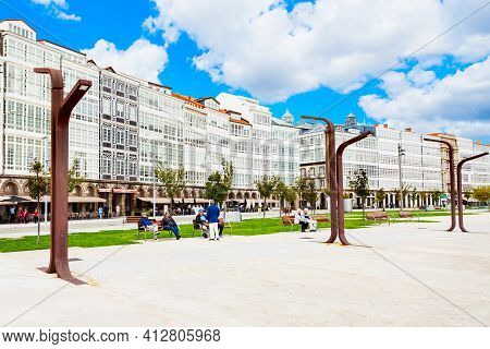 A Coruna, Spain - September 24, 2017: Traditional Galician Houses At The Embankment In The Centre Of