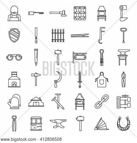 Blacksmith Tools Icons Set. Outline Set Of Blacksmith Tools Vector Icons For Web Design Isolated On