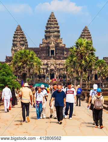 Siem Reap, Cambodia - March 22, 2018: Angkor Wat Temple In Siem Reap In Cambodia. Angkor Wat Is The