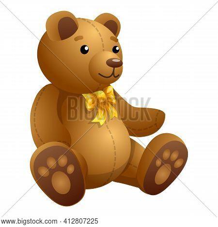 Baby Teddy Bear Icon. Cartoon Of Baby Teddy Bear Vector Icon For Web Design Isolated On White Backgr