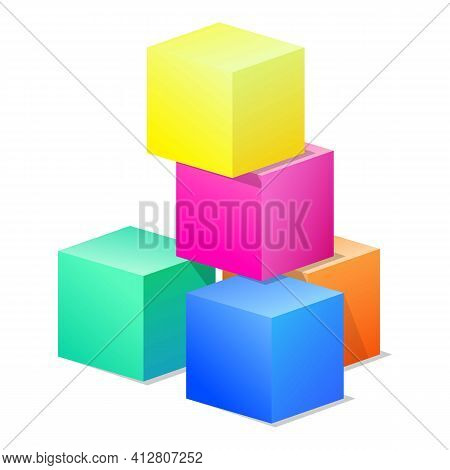 Colorful Toy Cubes Icon. Cartoon Of Colorful Toy Cubes Vector Icon For Web Design Isolated On White