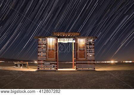 Long Exposure Time Lapse Star Trails in the Salton Sea, California USA